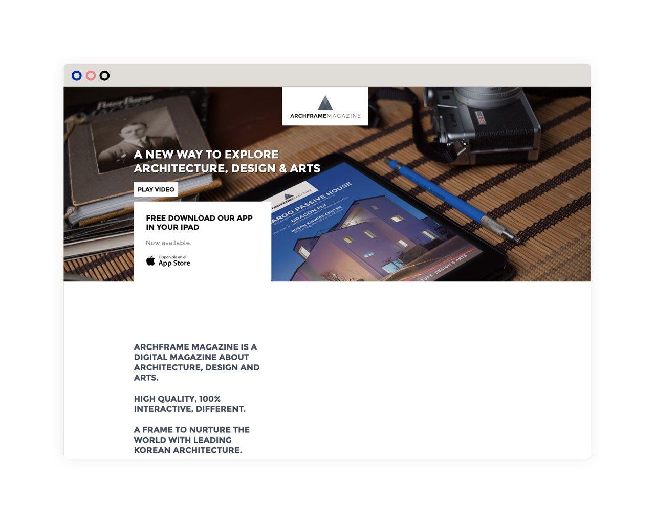 Archframe Magazine web desktop