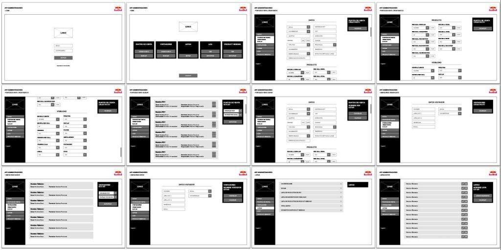 RedBull SpotMyCans wireframe para tablet