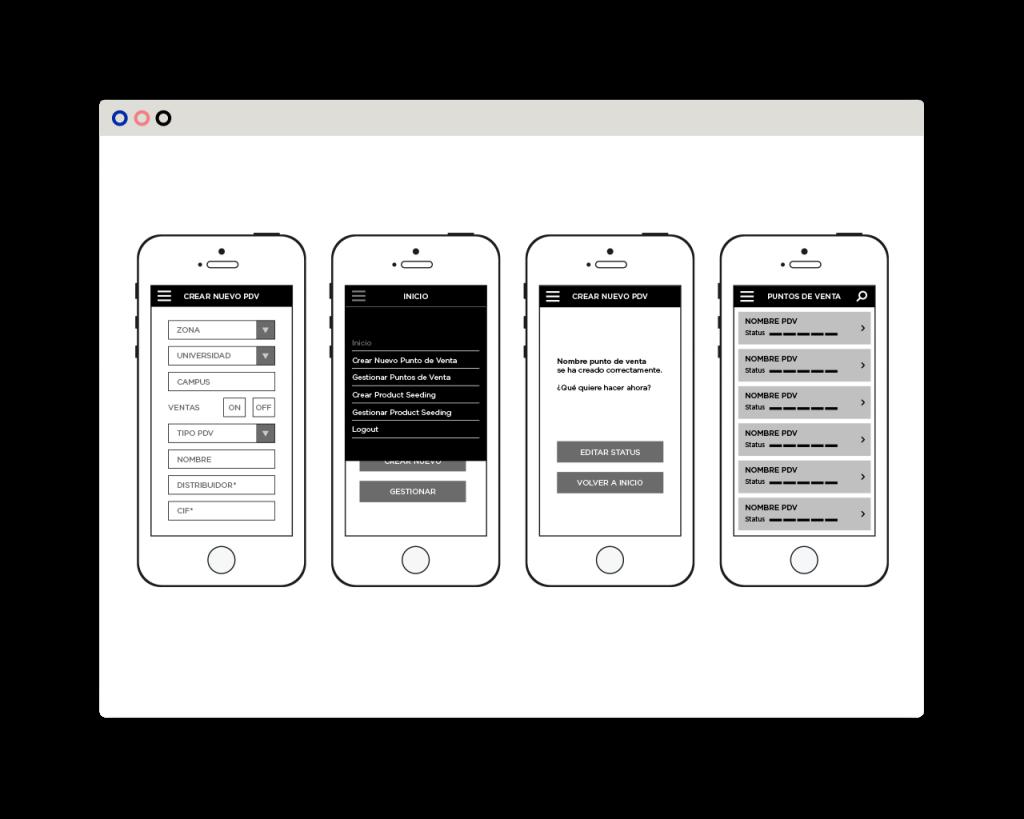 RedBull SpotMyCans wireframe para móvil