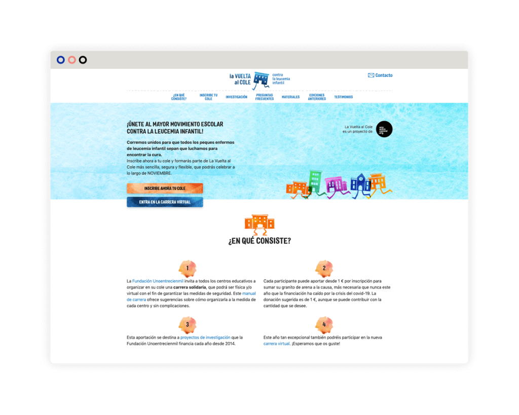 Desarrollo web La vuelta al cole contra la leucemia infantil. Desktop