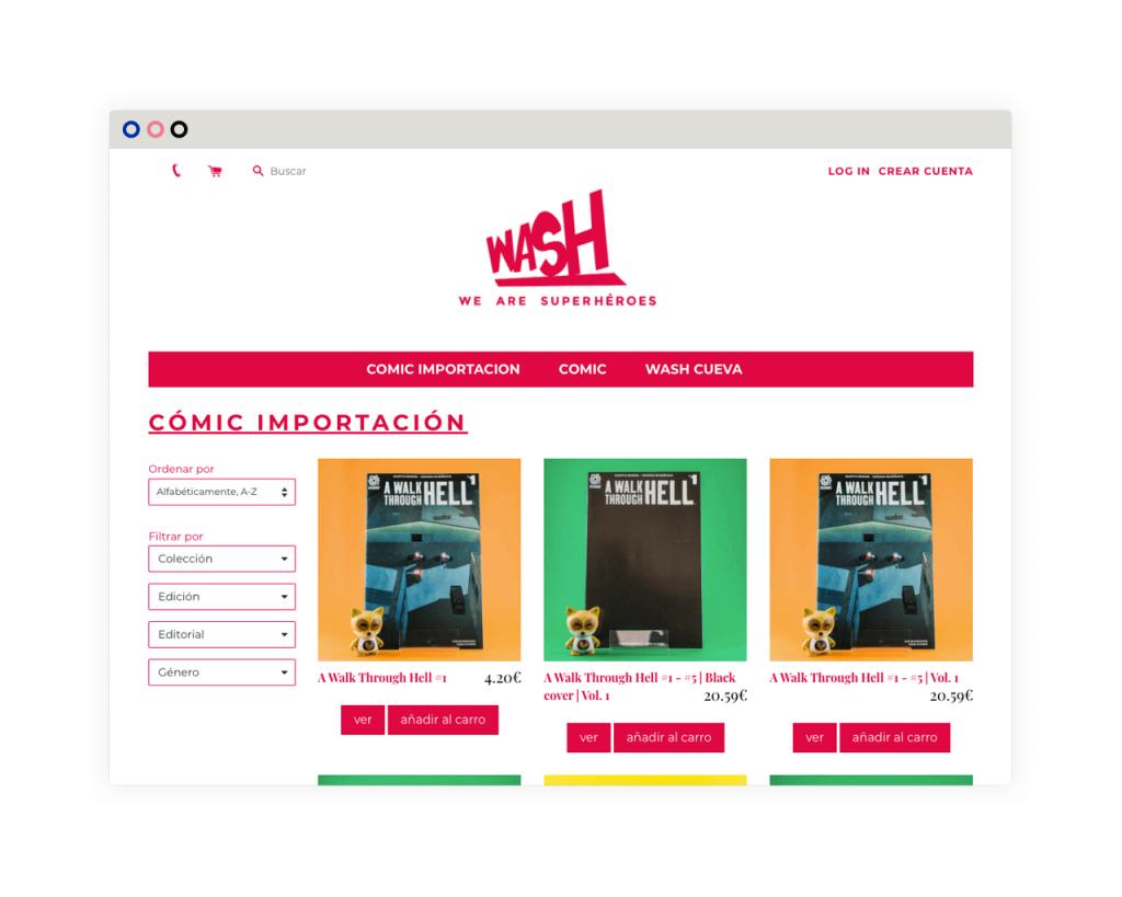 Wash Comics. Diseño y desarrollo ecommerce