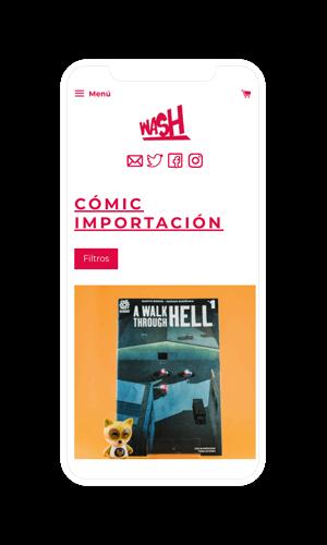 Wash Comics. Diseño y desarrollo ecommerce para móvil